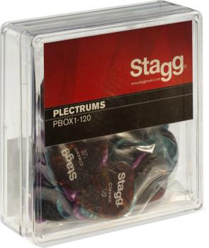 "Pack of 100 Stagg 1.2 mm (0.047"") standard plastic picks, various colo (ST-PBOX1-120)"