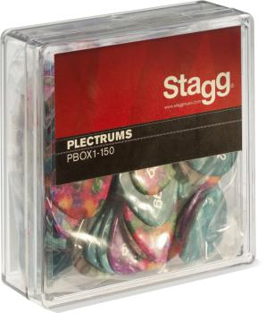 "Pack of 100 Stagg 1.5 mm (0.06"") standard plastic picks, various colou (ST-PBOX1-150)"
