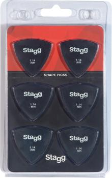 Pack of 6 Stagg 1.14 mm triangular plastic picks (ST-SPELLIX6-1.14)
